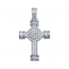 Wholesale Sterling Silver 925 Rhodium Plated CZ Cross Hip Hop Pendant - SLP00103