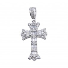 Wholesale Sterling Silver 925 Rhodium Plated Baguette CZ Cross Hip Hop Pendant - SLP00104