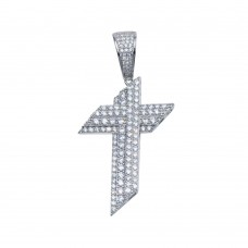 Wholesale Sterling Silver 925 Rhodium Plated CZ Angled Cross Hip Hop Pendant - SLP00105