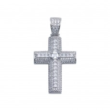Wholesale Sterling Silver 925 Rhodium Plated CZ Encrusted Cross Hip Hop Pendant - SLP00106