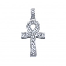 Wholesale Sterling Silver 925 Rhodium Plated CZ Encrusted Egyptian Ankh Cross Hip Hop Pendant - SLP00107