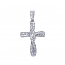 Wholesale Sterling Silver 925 Rhodium Plated Twisted Cross Baguette CZ Hip Hop Pendant - SLP00108