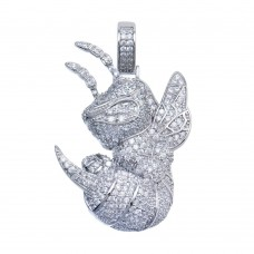 Wholesale Sterling Silver 925 Rhodium Plated CZ Hornet Hip Hop Pendant - SLP00109