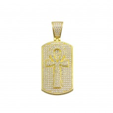 Wholesale Sterling Silver 925 Gold Plated CZ Cross Dogtag Hip Hop Pendant - SLP00150