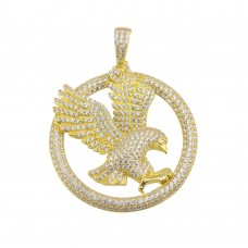 Wholesale Sterling Silver 925 Gold Plated Flying Eagle CZ Hip Hop Pendant - SLP00151