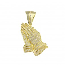 Wholesale Sterling Silver 925 Gold Plated Praying Hand CZ Hip Hop Pendant - SLP00152
