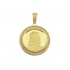 Wholesale Sterling Silver 925 Gold Plated CZ Jesus Medallion Hip Hop Pendant - SLP00153-GP