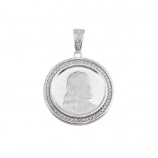 Wholesale Sterling Silver 925 Rhodium Plated CZ Jesus Medallion Hip Hop Pendant - SLP00153-RH
