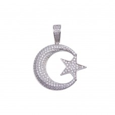 Wholesale Sterling Silver 925 Gold Plated CZ Moon Star Hip Hop Pendant - SLP00154