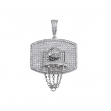 Wholesale Sterling Silver 925 Rhodium Plated CZ Basketball Hoop Hip Hop Pendant - SLP00155RH