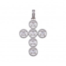Wholesale Sterling Silver 925 Rhodium Plated CZ Round Cross Hip Hop Pendant - SLP00157