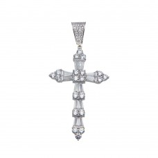 Wholesale Sterling Silver 925 Rhodium Plated Baguette CZ Cross Hip Hop Pendant - SLP00158