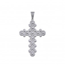 Wholesale Sterling Silver 925 Rhodium Plated CZ Cross Hip Hop Pendant - SLP00159