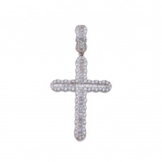 Wholesale Sterling Silver 925 Rhodium Plated CZ Cross Hip Hop Pendant - SLP00160