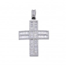 Wholesale Sterling Silver 925 Rhodium Plated CZ Baguette Cross Hip Hop Pendant - SLP00161