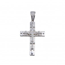 Wholesale Sterling Silver 925 Rhodium Plated CZ Cross Hip Hop Pendant - SLP00162