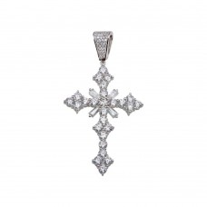 Wholesale Sterling Silver 925 Rhodium Plated Baguette CZ Cross Hip Hop Pendant - SLP00163