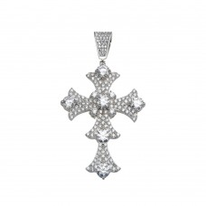 Wholesale Sterling Silver 925 Rhodium Plated CZ Cross Hip Hop Pendant - SLP00164