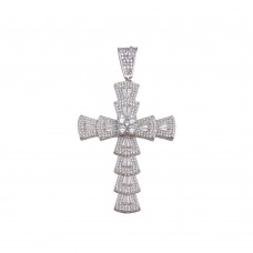 Wholesale Sterling Silver 925 Rhodium Plated CZ Cross Hip Hop Pendant - SLP00165