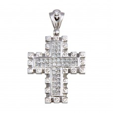 Wholesale Sterling Silver 925 Rhodium Plated CZ Cross Hip Hop Pendant - SLP00167