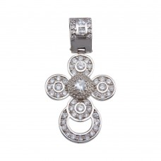 Wholesale Sterling Silver 925 Rhodium Plated CZ Rounded Cross Hip Hop Pendant - SLP00168