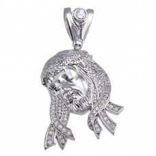 Wholesale Sterling Silver 925 Rhodium Plated CZ Jesus Hip Hop Pendant - SLP00170
