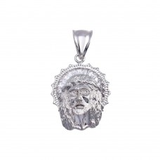 Wholesale Sterling Silver 925 Rhodium Plated CZ Jesus Hip Hop Pendant - SLP00171