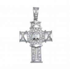 Wholesale Sterling Silver 925 Rhodium Plated CZ Cross Hip Hop Pendant - SLP00172
