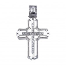 Wholesale Sterling Silver 925 Rhodium Plated CZ Open Cross Hip Hop Pendant - SLP00173