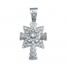 Wholesale Sterling Silver 925 Rhodium Plated Cross Bubble CZ Hip Hop Pendant - SLP00174