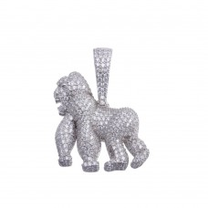 Wholesale Sterling Silver 925 Rhodium Plated CZ Gorilla Hip Hop Pendant - SLP00175