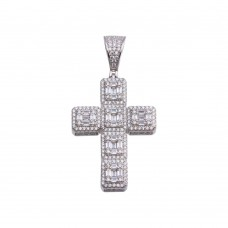 Wholesale Sterling Silver 925 Rhodium Plated CZ Cross Hip Hop Pendant - SLP00182