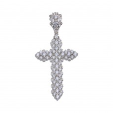 Wholesale Sterling Silver 925 Rhodium Plated CZ Cross Hip Hop Pendant - SLP00183