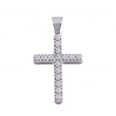 Wholesale Sterling Silver 925 Rhodium Plated CZ Cross Hip Hop Pendant - SLP00184