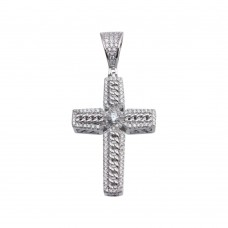 Wholesale Sterling Silver 925 Rhodium Plated CZ Chain Cross Hip Hop Pendant - SLP00185
