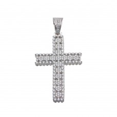 Wholesale Sterling Silver 925 Rhodium Plated CZ Cross Hip Hop Pendant - SLP00186