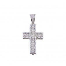 Wholesale Sterling Silver 925 Rhodium Plated CZ Cross Hip Hop Pendant - SLP00187