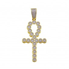 Wholesale Sterling Silver 925 Gold Plated CZ Egyptian Ankh Cross Hip Hop Pendant - SLP00189