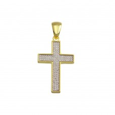 Wholesale Sterling Silver 925 Gold Plated CZ Cross Hip Hop Pendant - SLP00193GP