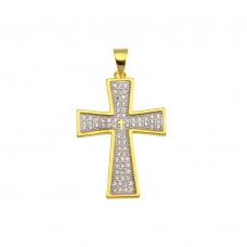 Wholesale Sterling Silver 925 Gold Plated Cross CZ Hip Hop Pendant - SLP00195GP