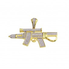 Wholesale Sterling Silver 925 Gold Plated CZ Gun Hip Hop Pendant - SLP00198GP