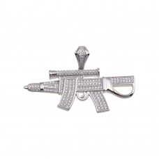 Wholesale Sterling Silver 925 Rhodium Plated CZ Gun Hip Hop Pendant - SLP00198RH