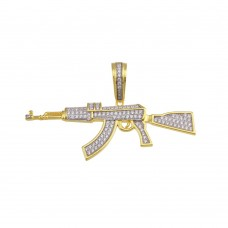 Wholesale Sterling Silver 925 Gold Plated Riffle CZ Hip Hop Pendant - SLP00199GP