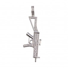 Wholesale Sterling Silver 925 Rhodium Plated Riffle CZ Hip Hop Pendant - SLP00201RH