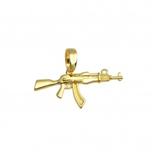 Wholesale Sterling Silver 925 Gold Plated Gun Hip Hop Pendant - SLP00202