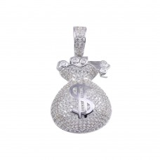 Wholesale Sterling Silver 925 Rhodium Plated CZ Money Bag Hip Hop Pendant - SLP00203RH
