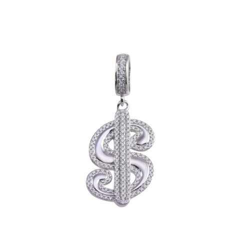 Wholesale Sterling Silver 925 Gold Plated CZ Small Dollar Sign Hip Hop Pendant - SLP00207