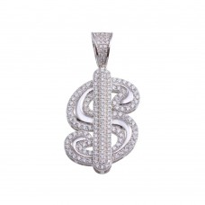 Wholesale Sterling Silver 925 Gold Plated CZ Dollar Sign Hip Hop Pendant 8.8mm - SLP00208