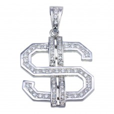 Wholesale Sterling Silver 925 Rhodium Plated CZ Large Dollar Sign Hip Hop Pendant - SLP00209