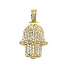 Wholesale Sterling Silver 925 Gold Plated CZ Hamsa Hand Hip Hop Pendant - SLP00210GP